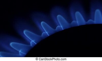 Blue Natural Gas Flames. Slow Motion. Clost up