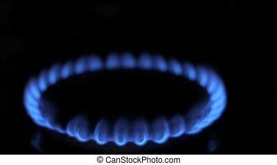 Blue Natural Gas Flames. Slow Motion.