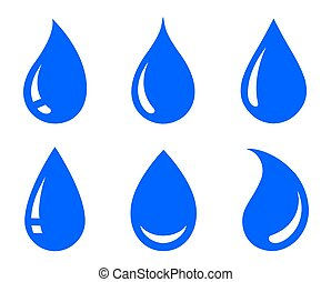 blue natural water drop icons set silhouettes