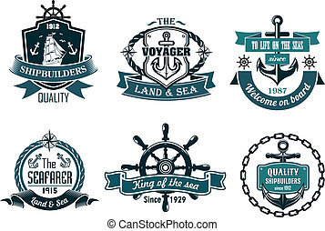 Blue nautical and sailing themed banners or icons with ship...
