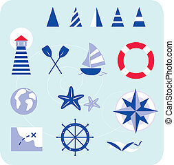Stylized sailor and nautical icons. In trendy blue-red retro style with stripes. All Icons are hand-drawn, created only with shapes. Lighthouse, boat, compass, map and other nautical elements.