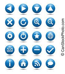 Blue Navigation Web Icons Isolated on White Background