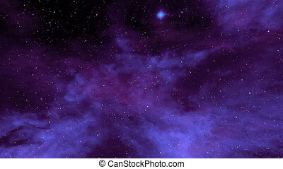 Blue Nebula and Star Fields in Deep Space