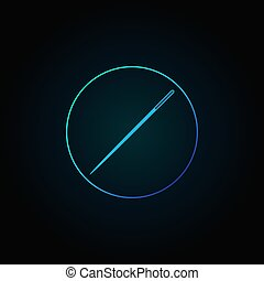 Blue needle in circle icon. Vector sewing concept