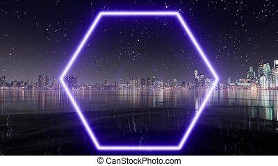 Blue neon hexagon. Light banner. Glow effect. Geometric ...