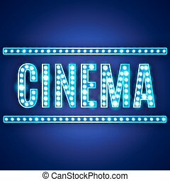 Blue neon lamp cinema sign