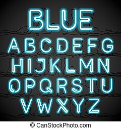 Blue neon light alphabet