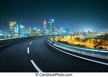 Blue neon light design highway overpass