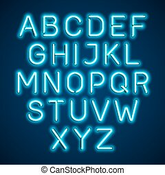 Blue neon light glowing font