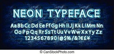 Blue neon light glowing latin alphabet