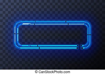 Blue neon rectangle frame, template on transparent background