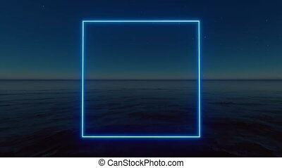 Blue neon rectangle on stars background. Glow effect. Led ...