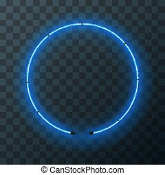 Blue neon round frame, template on transparent background