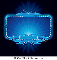 Blue luxury neon sign, vector image ready for your own text