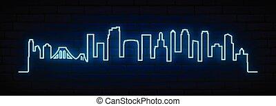 Blue neon skyline of Brooklyn, New York City.