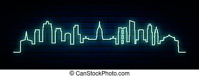 Blue neon skyline of Buenos Aires. Bright Buenos Aires City ...