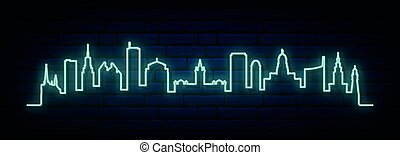 Blue neon skyline of Buffalo.