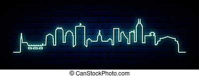 Blue neon skyline of Indianapolis. Bright Indianapolis City ...