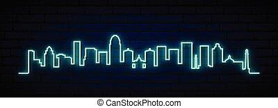 Blue neon skyline of Louisville city. Bright Louisville long...