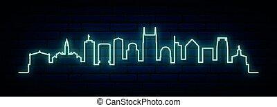 Blue neon skyline of Nashville.