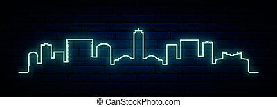 Blue neon skyline of Tallahassee. Bright Tallahassee City long banner. Vector illustration.