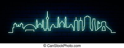 Blue neon skyline of Tehran. Bright Tehran City long banner. Vector illustration.