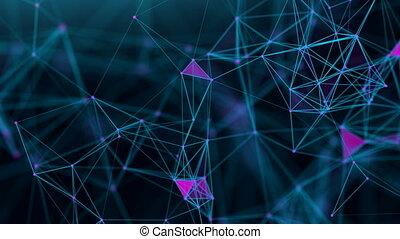 Seamless loop technology wave. Analytics ai cloud big data network. Futuristiv waveform flow.