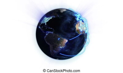 Blue network on a lighted Earth