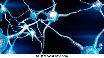 Blue Neuron synapse network with red electric impulse ...