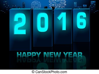 Blue New Year Greeting Card