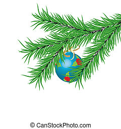 Blue New Year's ball and fur-tree branch on a white background. Vector