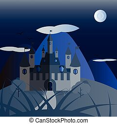 Blue night castle landscape