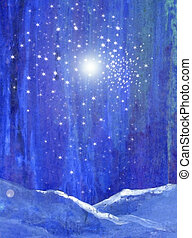 Blue night forest with snow light and stars original art ...