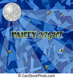 Blue Night Party Background with Mirror Sphere. Disco Club Banner