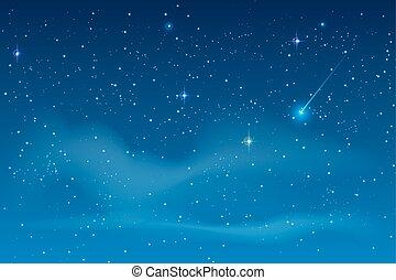 Blue night starry sky. Bright star to fall meteorite