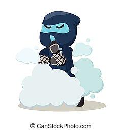 Blue ninja disappear in smoke