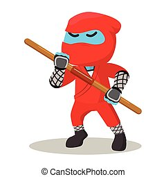 Blue ninja holding stick
