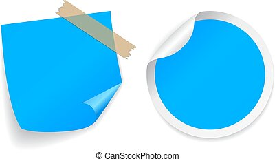 Blue note papers, round and square sticker