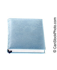 Blue notebook isolated on white.