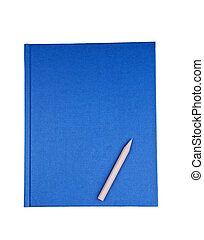 Blue notebook with pencil isolated