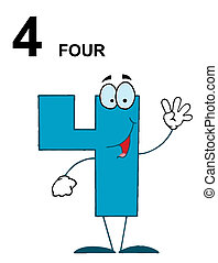 Blue Number 4 Four Guy With Text