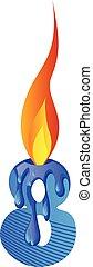 Blue number eight burning illustration vector on white background