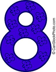 Blue number eight, illustration, vector on white background.