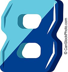 Blue number eight illustration vector on white background