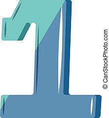 Blue number one illustration vector on white background