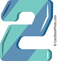 Blue number two illustration vector on white background