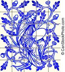 Blue Oak Fairy Azulejo Ceramic Tile Magnet Souvenir Vector -...