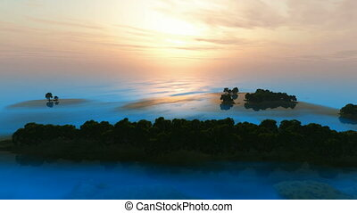blue ocean forest islands at sunset
