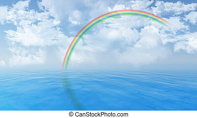 Blue ocean landscape with rainbow