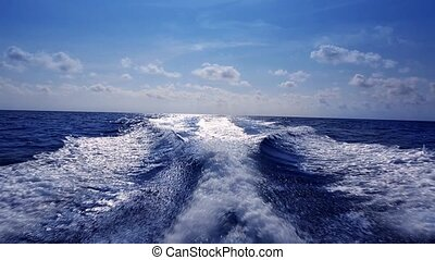 blue ocean sea with fast yacht boat